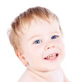 Toddler blond and blue eyes boy Stock Photo