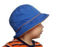 Toddler with blue hat, one year Stock Photo