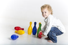Toddler is bowling Stock Photography
