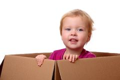 Toddler in box Stock Photography