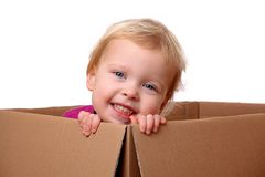 Toddler in box Stock Photos