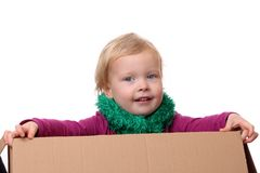 Toddler in box Royalty Free Stock Image