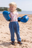 Toddler in boxing gloves Royalty Free Stock Photography