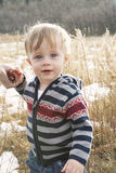 Toddler boy. Blonde, blue eyed toddler boy wearing striped sweater holding onto mothers hand standing in field Royalty Free Stock Photography