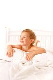 Toddler boy in bed Royalty Free Stock Photos