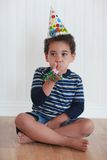 Toddler Boy With Birthday Hat Stock Photos