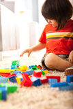 Toddler Boy Building With Blocks Royalty Free Stock Photography