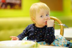 Toddler boy at the cafe Royalty Free Stock Image