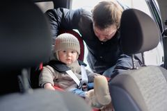 Toddler boy in the car seat Royalty Free Stock Photo