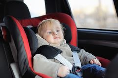 Toddler boy in car seat Stock Photography
