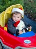 Toddler boy with christmas polar bear stock image