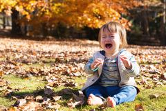 Toddler boy crying outside. On an autumn day stock photos