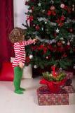 Toddler boy decorate Christmas tree Stock Photo