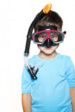 Toddler boy dressed in a t-shirt with UV filter and scuba mask Royalty Free Stock Photos