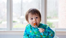 Toddler boy eating food with a fork Stock Image