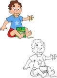 Toddler boy eating gummies. Cartoon  coloring book illustration of a toddler boy eating gummies Stock Image