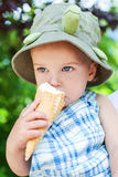Toddler boy eating ice cream Royalty Free Stock Images