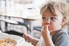 Toddler Boy Eating Pasta Royalty Free Stock Images