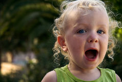 Toddler boy getting loud Royalty Free Stock Photography