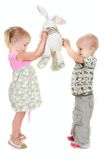 Toddler boy and girl Stock Image