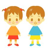 Toddler boy and girl. Illustration Royalty Free Stock Images