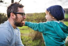 A toddler boy giving his father a biscuit outside in spring nature. A cute toddler boy giving his father a biscuit outside in spring nature Royalty Free Stock Photos
