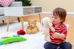 Toddler boy in his house at Christmas time royalty free stock photography