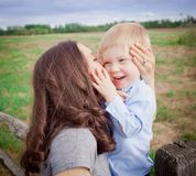 Toddler boy with mother Royalty Free Stock Photos