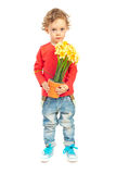 Toddler boy offering flowers. Toddler boy offering pot of flowers isolated on white background Stock Images