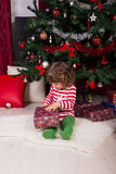 Toddler boy opening Christmas present Royalty Free Stock Images