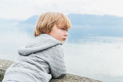 Toddler boy outdoors Royalty Free Stock Photos