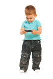 Toddler boy with phone mobile Stock Photos
