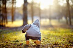 Toddler boy playing outdoors Stock Image