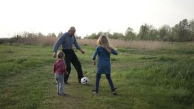 Toddler boy playing soccer with family outdoors stock footage