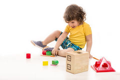 Toddler boy playing Royalty Free Stock Photography