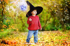 Toddler boy in pointed hat playing with magic wand outdoors Royalty Free Stock Photos