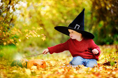 Toddler boy in pointed hat playing with magic wand outdoors Stock Photography