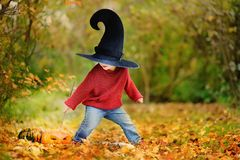 Toddler boy in pointed hat playing with magic wand outdoors Royalty Free Stock Photography