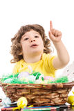 Toddler boy pointing to copy Royalty Free Stock Photo