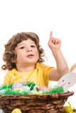 Toddler boy pointing up Stock Images