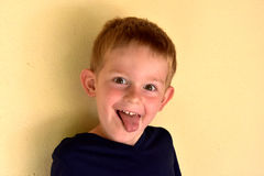Toddler boy. Portrait of a  mischievously toddler boy with blond hair Stock Photo