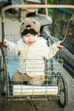 Toddler boy riding in the cart Stock Photography