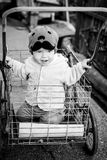 Toddler boy riding in the cart Stock Photo