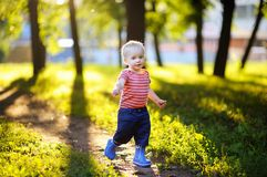 Toddler boy running in the park Royalty Free Stock Photography