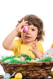 Toddler boy showing Easter egg Stock Photo