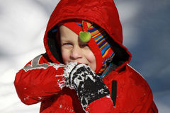 Toddler boy in the snow Stock Photo