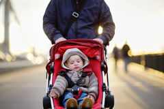 Toddler boy in stroller Royalty Free Stock Images