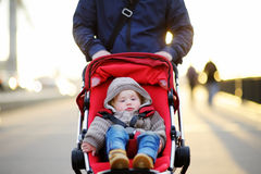 Toddler boy in stroller Royalty Free Stock Photography