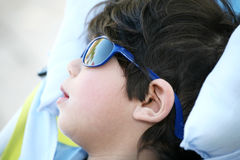 Toddler boy with sunglasses Stock Photos