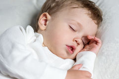 Toddler boy sweetly asleep on a pillow Royalty Free Stock Image
